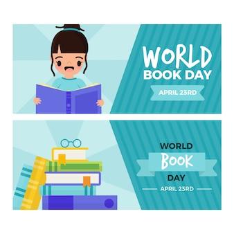 Modello di banner design piatto mondo libro giorno