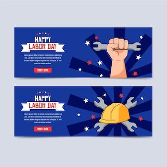 Modello di banner design piatto usa festa del lavoro