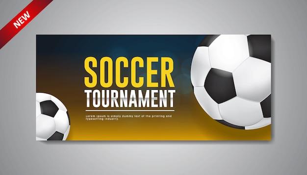 Modello di banner design torneo di calcio