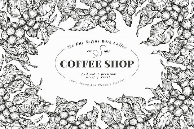 Modello di banner di albero del caffè. illustrazione vettoriale cornice caffè retrò illustrazione di stile inciso disegnato a mano.