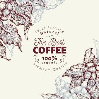 Modello di banner di albero del caffè. illustrazione vettoriale sfondo caffè retrò