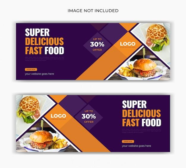 Modello di banner di annuncio web di timeline di copertura di facebook post post social social ristorante alimentare