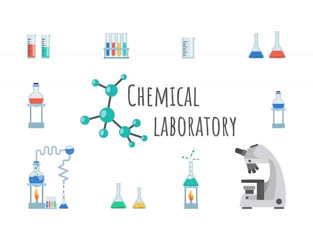 Modello di banner di attrezzature chimiche di laboratorio. vetreria per laboratorio, becher, boccette e provette