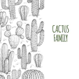 Modello di banner di cactus abbozzato con testo