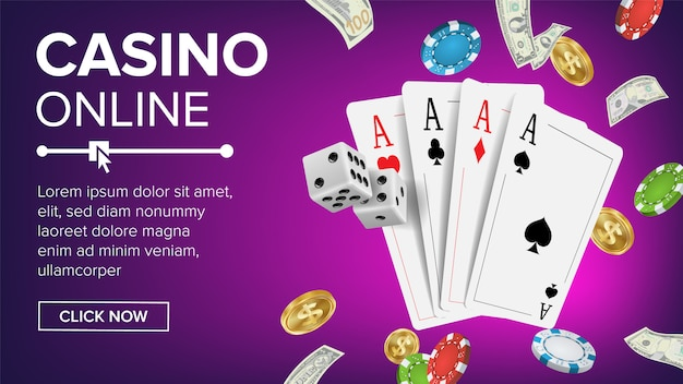Modello di banner di casino poker design
