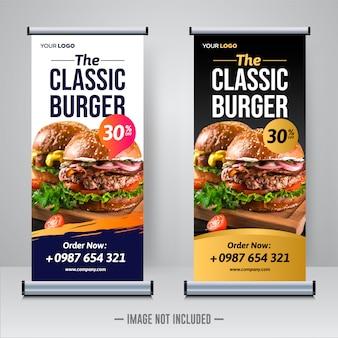 Modello di banner di cibo e ristorante roll up