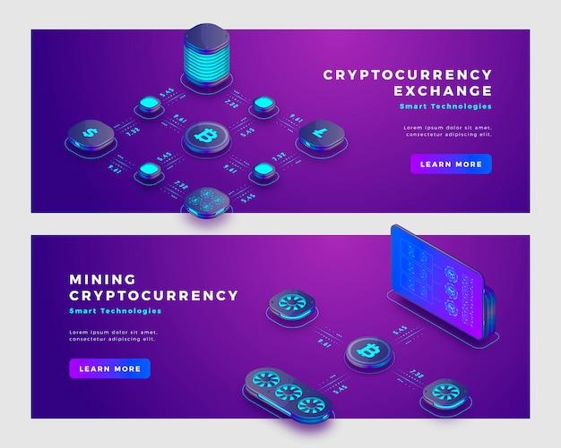 Modello di banner di concetto di scambio bitcoin e criptovaluta mineraria.