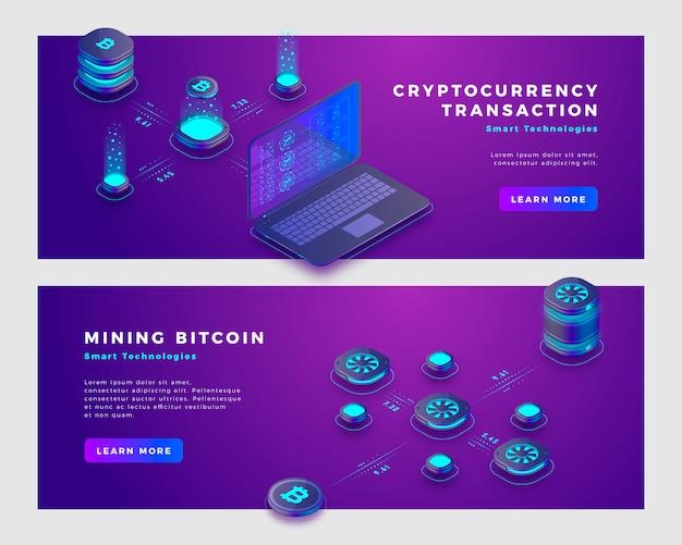 Modello di banner di concetto di transazione mineraria bitcoin e criptovaluta.