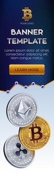 Modello di banner di criptovaluta. monete d'oro bitcoin, ethereum, ripple.