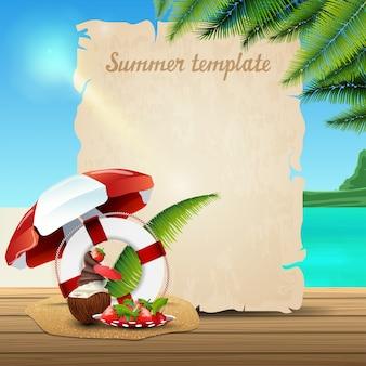 Modello di banner di estate sotto forma di pergamena