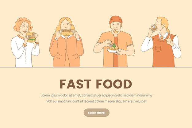 Modello di banner di fast food. persone che mangiano torta, cupcake, hot dog e hamburger.