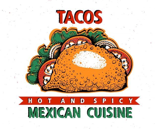 Modello di banner di fast food taco. cucina tradizionale messicana