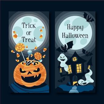 Modello di banner di halloween design piatto