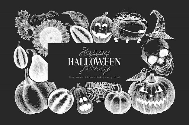 Modello di banner di halloween illustrazioni disegnate a mano sulla lavagna.