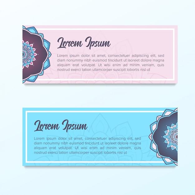 Modello di banner di mandala colore viola e blu