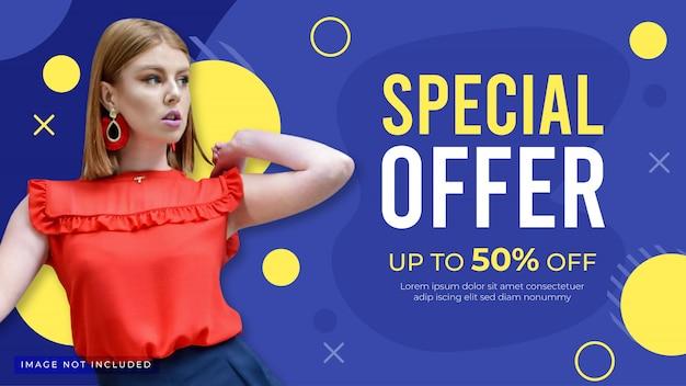 Modello di banner di offerta speciale. banner di promozione di moda per sito web, flyer e poster