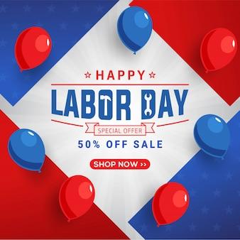 Modello di banner di promozione di festa del lavoro giorno