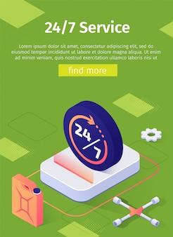 Modello di banner di servizio online 24/7 per officina di riparazione auto