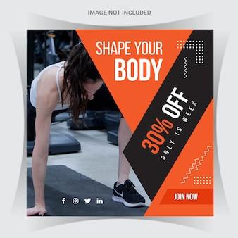 Modello di banner di social media fitness