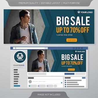 Modello di banner di social media grande vendita