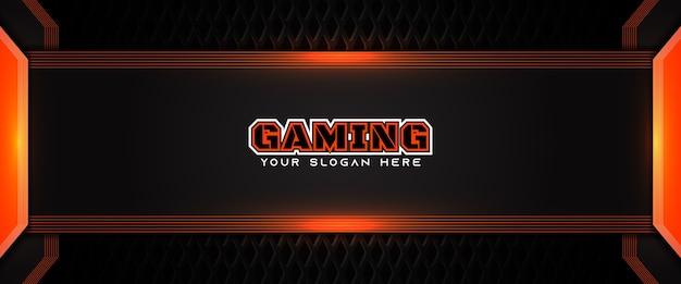 Modello di banner di social media intestazione di gioco futuristico arancione e nero