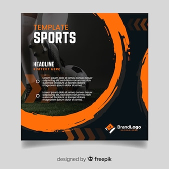 Modello di banner di sport con foto