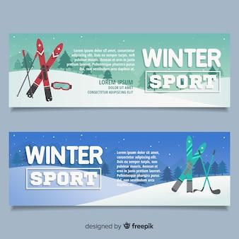 Modello di banner di sport invernali