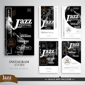 Modello di banner di storie di instagram di festival musicale o di jazz
