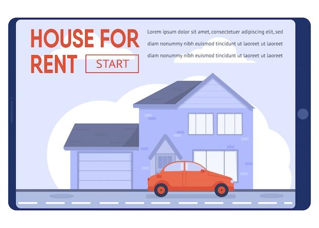 Modello di banner di testo piatto che propone la casa moderna in affitto