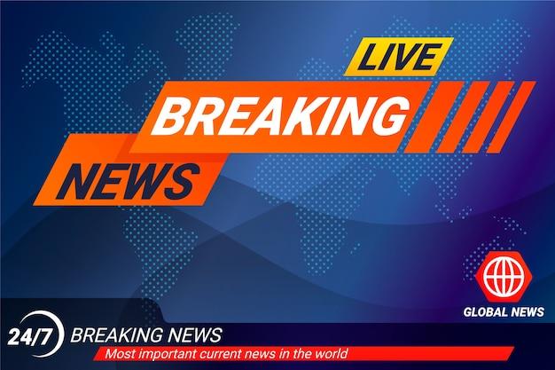 Modello di banner di ultime notizie in tempo reale