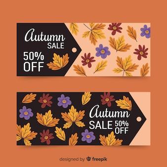 Modello di banner di vendita autunno disegnato a mano