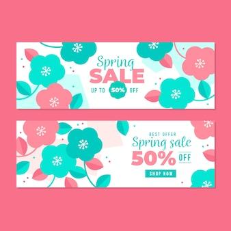 Modello di banner di vendita design piatto primavera fiori rosa e blu