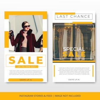 Modello di banner di vendita di moda minimalista storie instagram