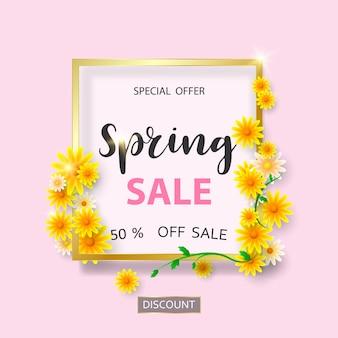 Modello di banner di vendita di primavera con bel fiore.