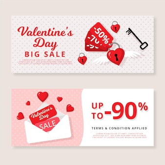 Modello di banner di vendita di san valentino design piatto