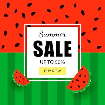Modello di banner di vendita estiva. texture di anguria
