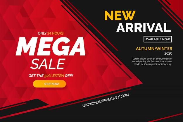 Modello di banner di vendita mega moderna