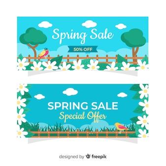 Modello di banner di vendita primavera floreale