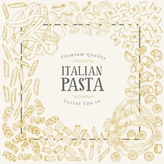 Modello di banner di vettore con diversi tipi di pasta italiana tradizionale.