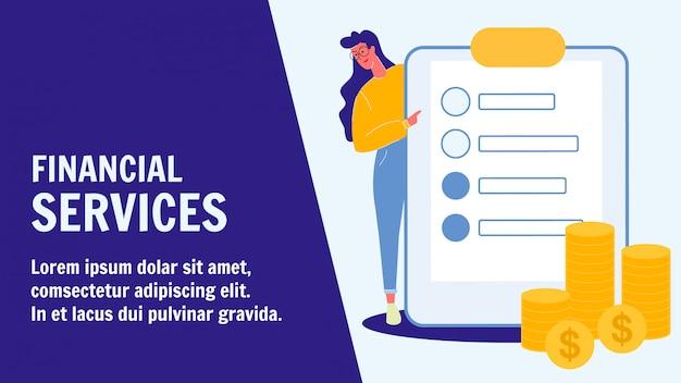 Modello di banner di vettore piatto di servizi finanziari