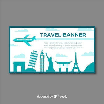 Modello di banner di viaggio design piatto