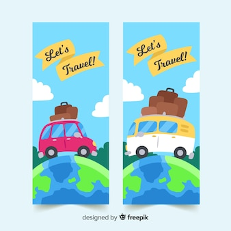 Modello di banner di viaggio piatto di viaggio