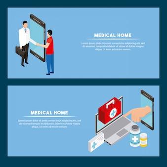 Modello di banner digitale concetto di salute