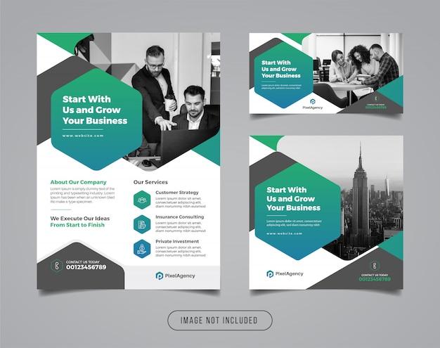 Modello di banner e flyer social media di agenzia di affari