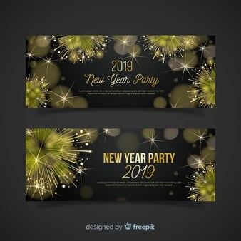 Modello di banner festa anno nuovo realistico fireworks d'oro
