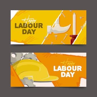 Modello di banner festa del lavoro disegnato a mano