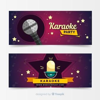Modello di banner festa karaoke piatto