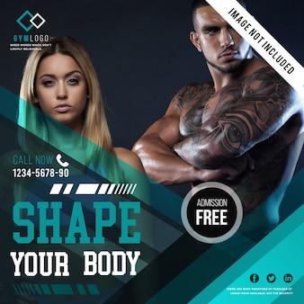 Modello di banner fitness fitness o post instagram