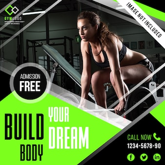 Modello di banner fitness fitness o post instagram