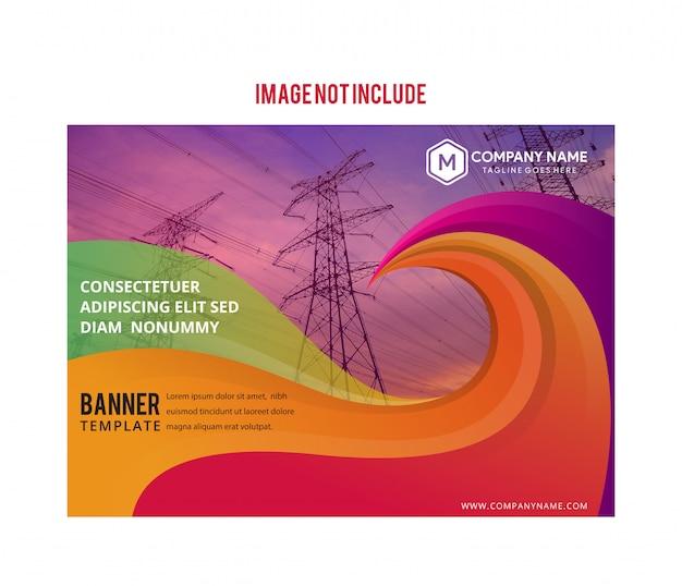 Modello di banner flusso colorato moderno. forma a liquido dell'onda in colore viola. stendere lo spazio per la foto.